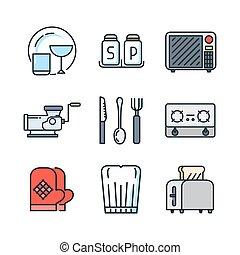 utensílio cozinha, ícone, jogo, cor