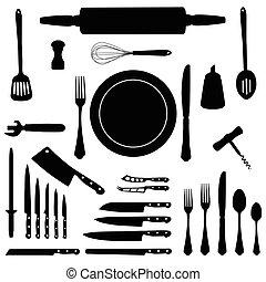 utensílio cozinha, ícone, jogo