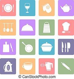utensílio cozinha, apartamento, ícones, jogo