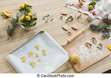 utensílio cozinha, com, cru, natal, cookies., assando, biscuits.