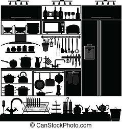 utensílio cozinha, ferramenta, interior