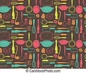 utensílio, cozinha, seamlesss, padrão