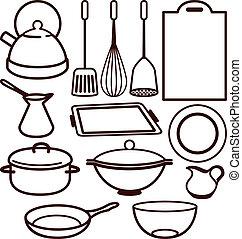 utensílio, jogo, cozinha