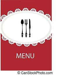 utensílio, menu, tabela, desenho, restaurante