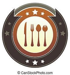 utensílios, botão, comer, imperial