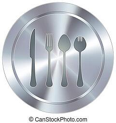 utensílios, botão, industrial, comer