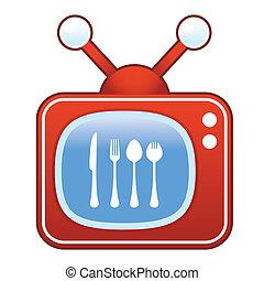 utensílios, comer, televisão, retro