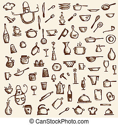 utensílios cozinha, esboço, desenho, para, seu, desenho
