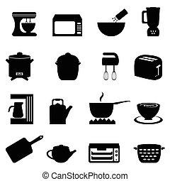 utensílios, cozinha, itens