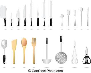 utensílios cozinha, jogo, vetorial