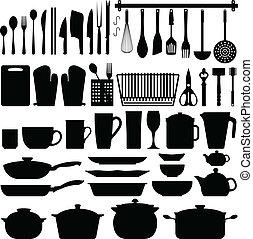 utensílios cozinha, silueta, vetorial