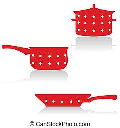 utensílios, cozinhar, vermelho