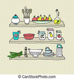 utensílios, esboço, prateleiras, desenho, cozinha