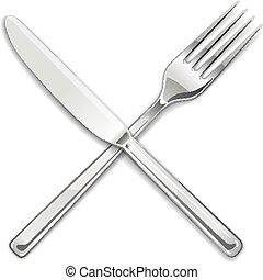 utensílios, jogo, comer, garfo, knife.