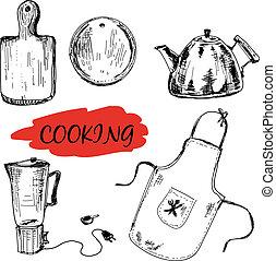 utensílios, jogo, cozinha