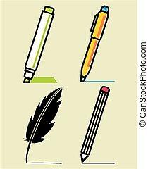 utensílios, jogo, escrita
