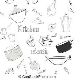 utensílios, papel parede, seamless