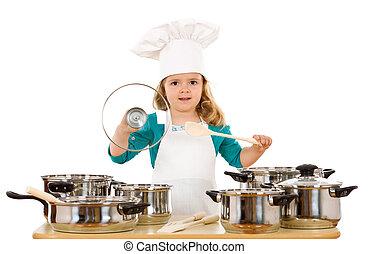 utensílios, pequeno, cozinhar, menina, tocando