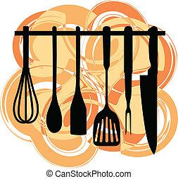 utensílios, prateleira, cozinha