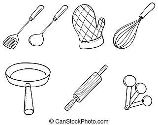 utensílios, silhuetas, cozinha