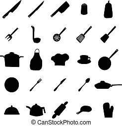 utensílios, silhuetas, mercadoria, cozinha
