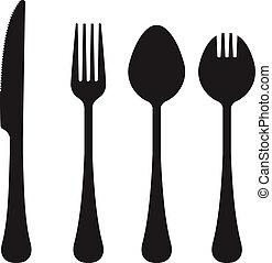 utensílios, silhuetas, vetorial, comer