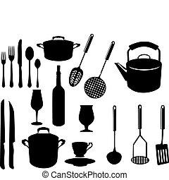 utensílios, variado, cozinha