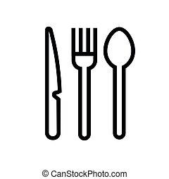utensílios, vetorial, comer, ícone