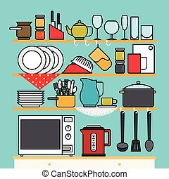 utensílios, vetorial, cozinha