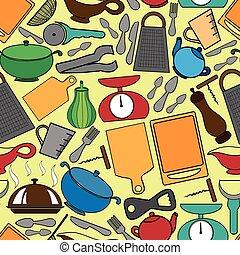 utens, padrão, seamless, cozinha