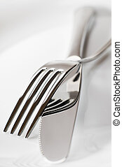 utensil - fork and knife on a plate close up shoot