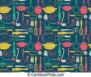 utensile, cucina, seamlesss, modello