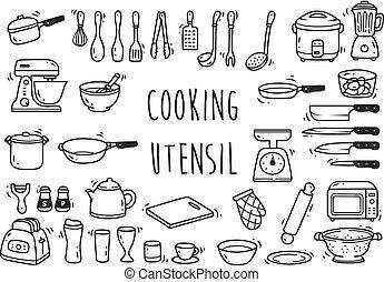 utensile, set, cucina, scarabocchiare