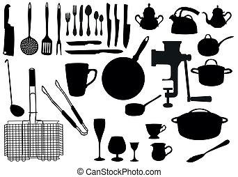 utensile, silhouette, cucina