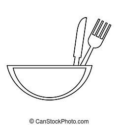 utensili, ciotola, mangiare, icona