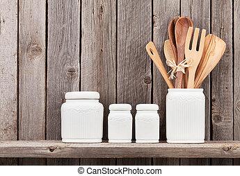 utensili, cottura, cucina, mensola