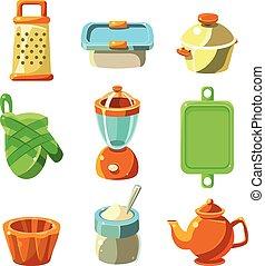 utensili cottura, vettore, illustrazione