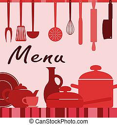 utensili cucina, e, cottura, processo