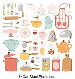 utensili cucina, icons.