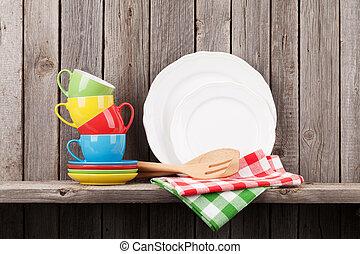 utensili, cucina, mensola