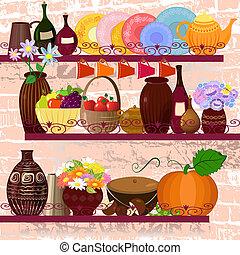 utensili, cucina, mensole