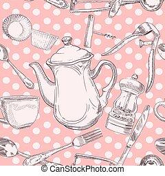 utensili, cucina, seamless, modello