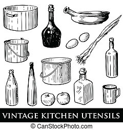 utensili, cucina, vendemmia