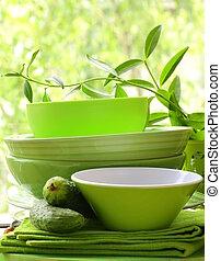 utensili, cucina verde
