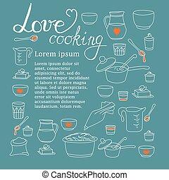 utensili cucina, vettore, illustrazione, firma