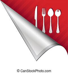 utensili, linguetta, mangiare, angolo