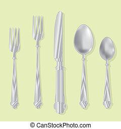 utensili, mangiare, vettore