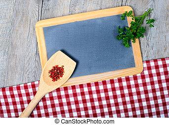 utensili, per, cottura, legno, con, uno, piccolo, lavagna