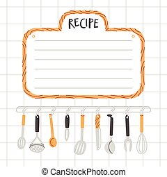 utensili, ricetta, sagoma, cucina