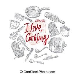 utensili, schizzo, concetto, rotondo, cucina
